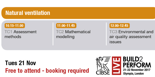 Breathing Buildings to present at the CIBSE Build2Perform Live on Assessment methods in Natural Ventilation